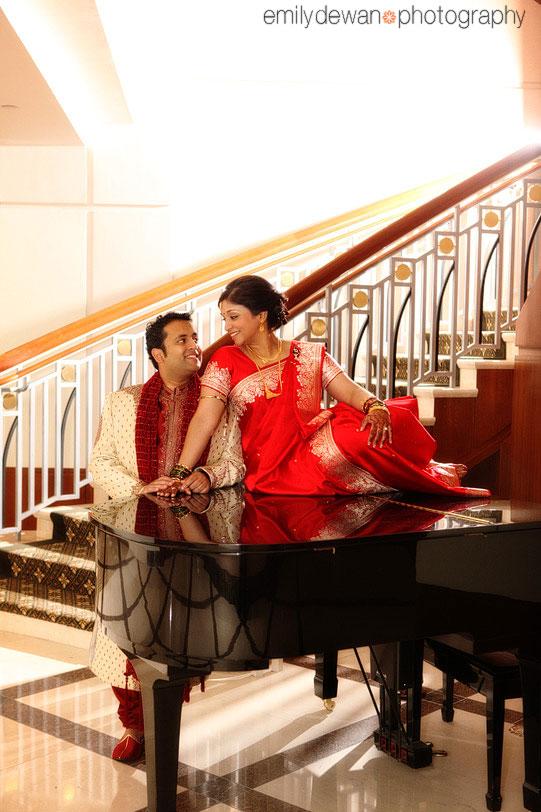 indian basking ridge nj wedding dolce hotel piano portrait