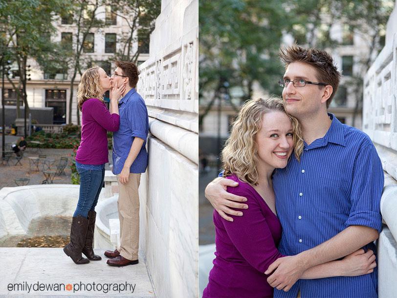 nyc engagement portrait new york public library bryant park
