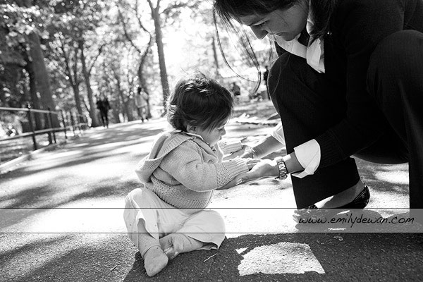 central park baby mom nine months portrait