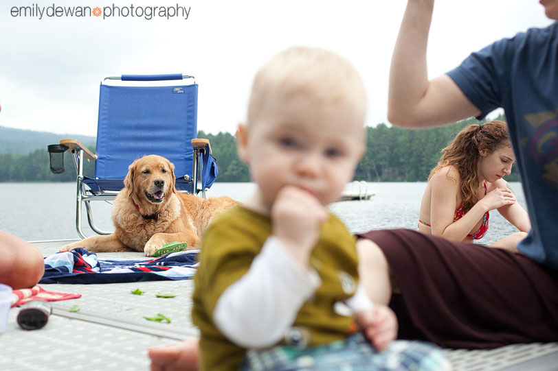 maine portrait children water lake dock dog golden retriever
