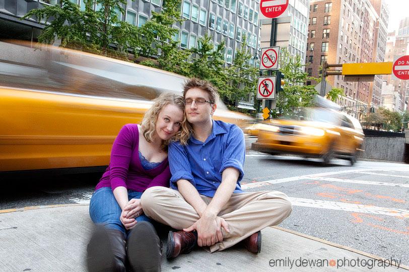 nyc engagement portrait taxi cab blur