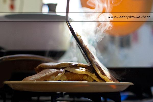 pancakes spatula stove steam